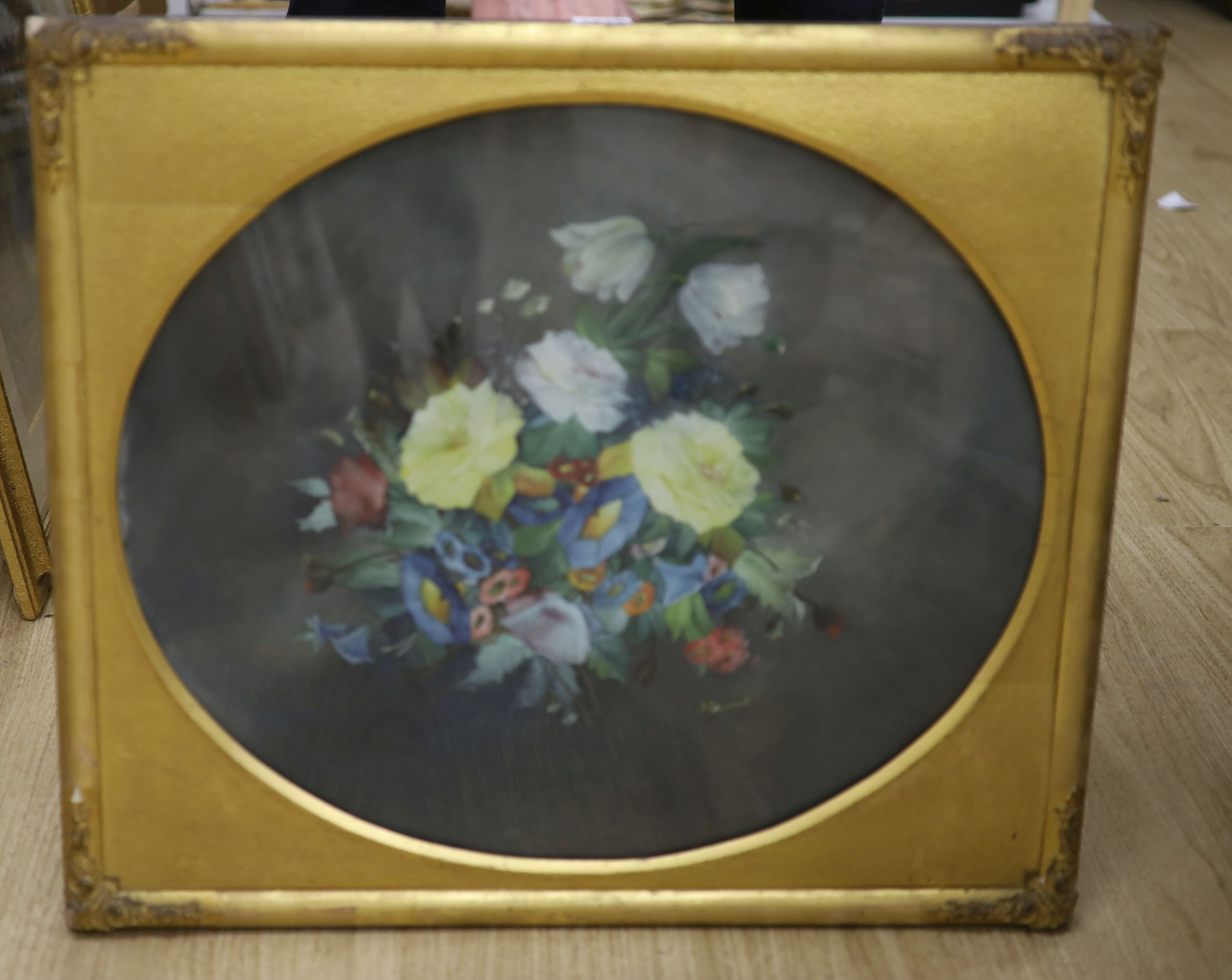 William Rayworth (19th/20th century), oil on opaque glass, 'Still life study of mixed flowers', - Image 3 of 4