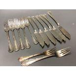 Thirteen items of 800 standard white metal cutlery, 21oz.