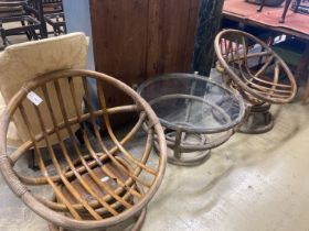 A pair of 1970's Angraves bamboo chairs and an occasional table, 76cm diameter