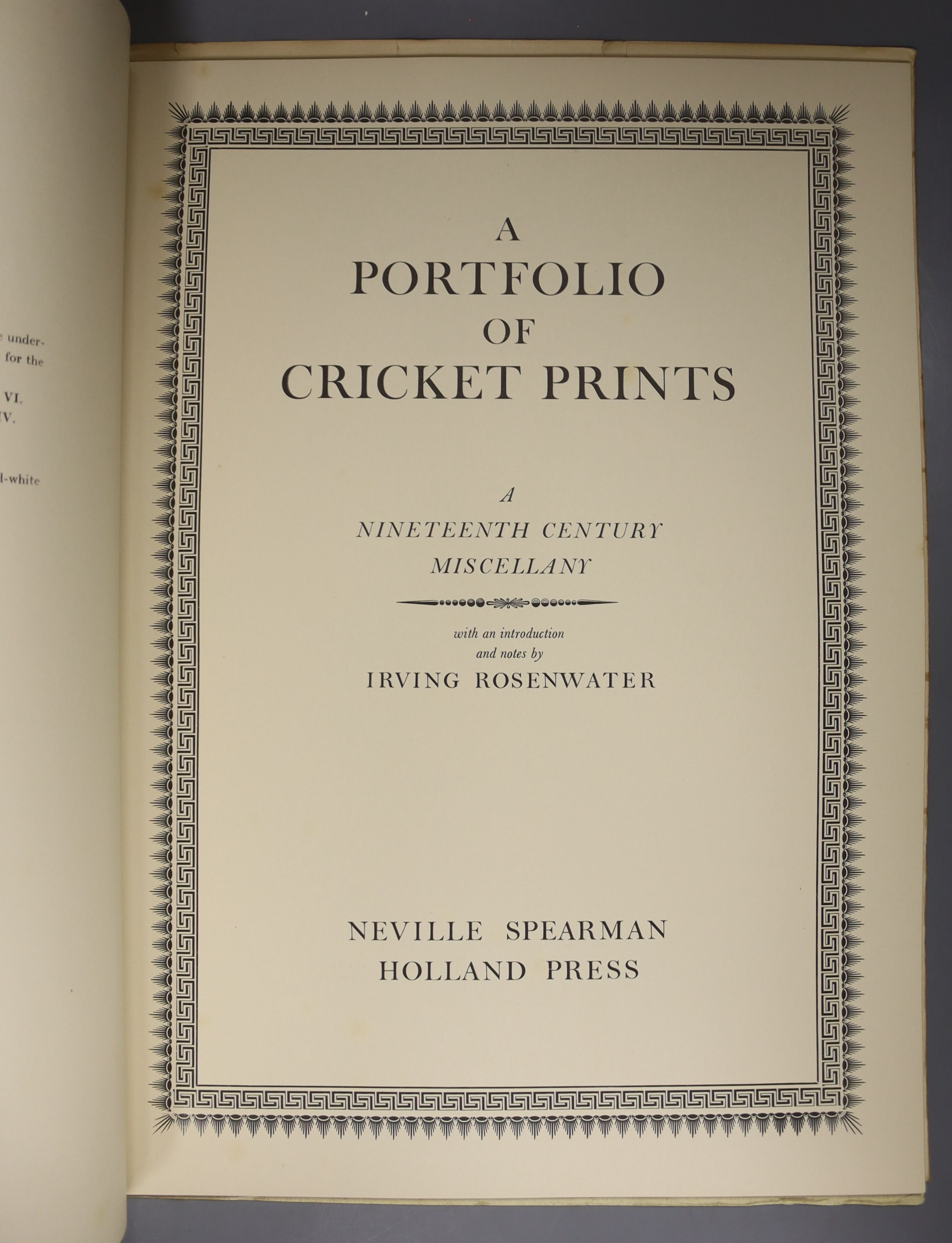 Rosenwater, Irving – A Portfolio of Cricket Prints: a nineteenth century miscellany, 8 coloured - Image 2 of 6