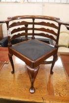 A George II corner elbow chair, width 76cm, depth 62cm, height 80cm