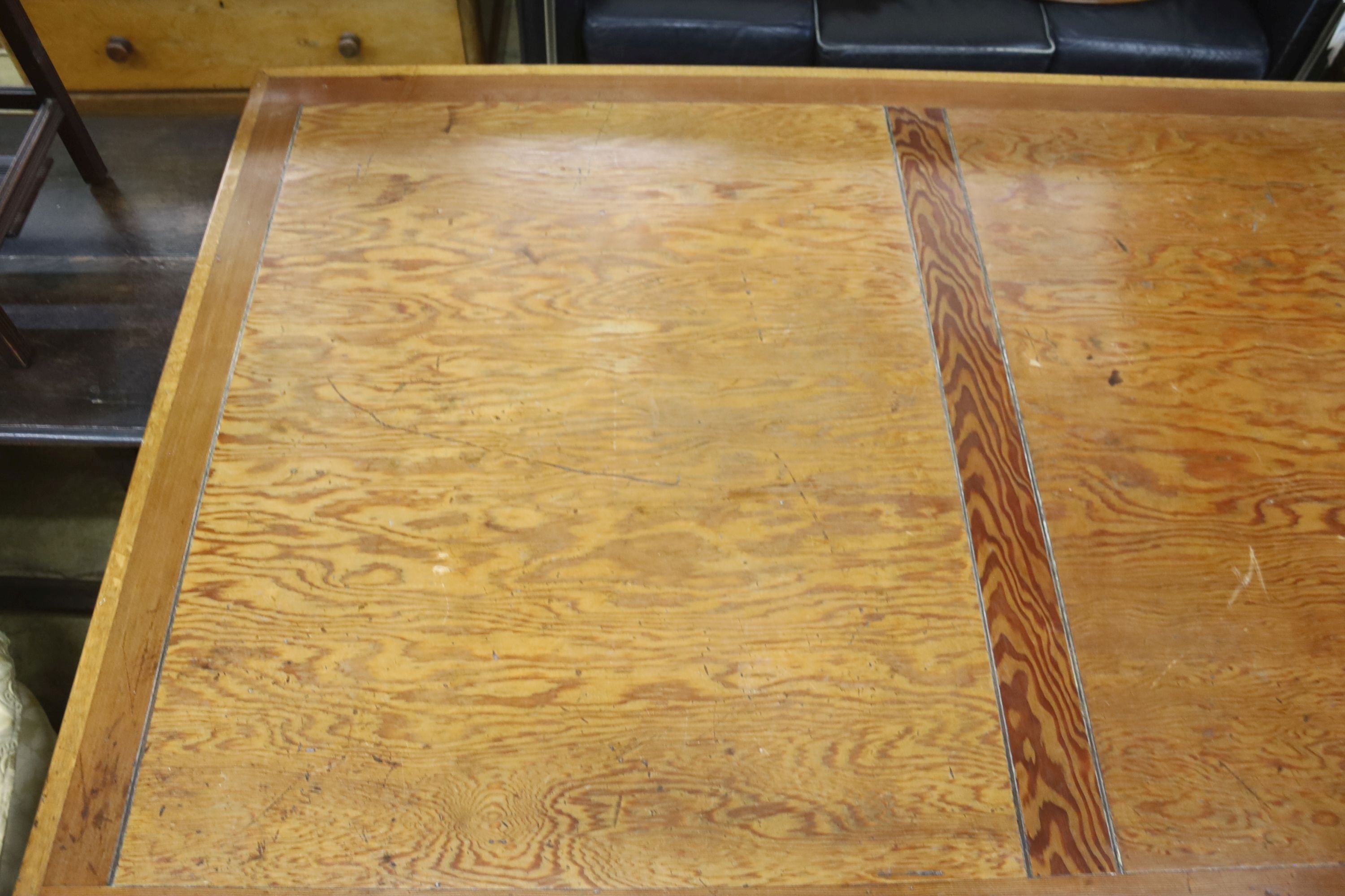 A large oak and pine refectory table, length 274cm, depth 122cm, height 76cm - Image 5 of 6