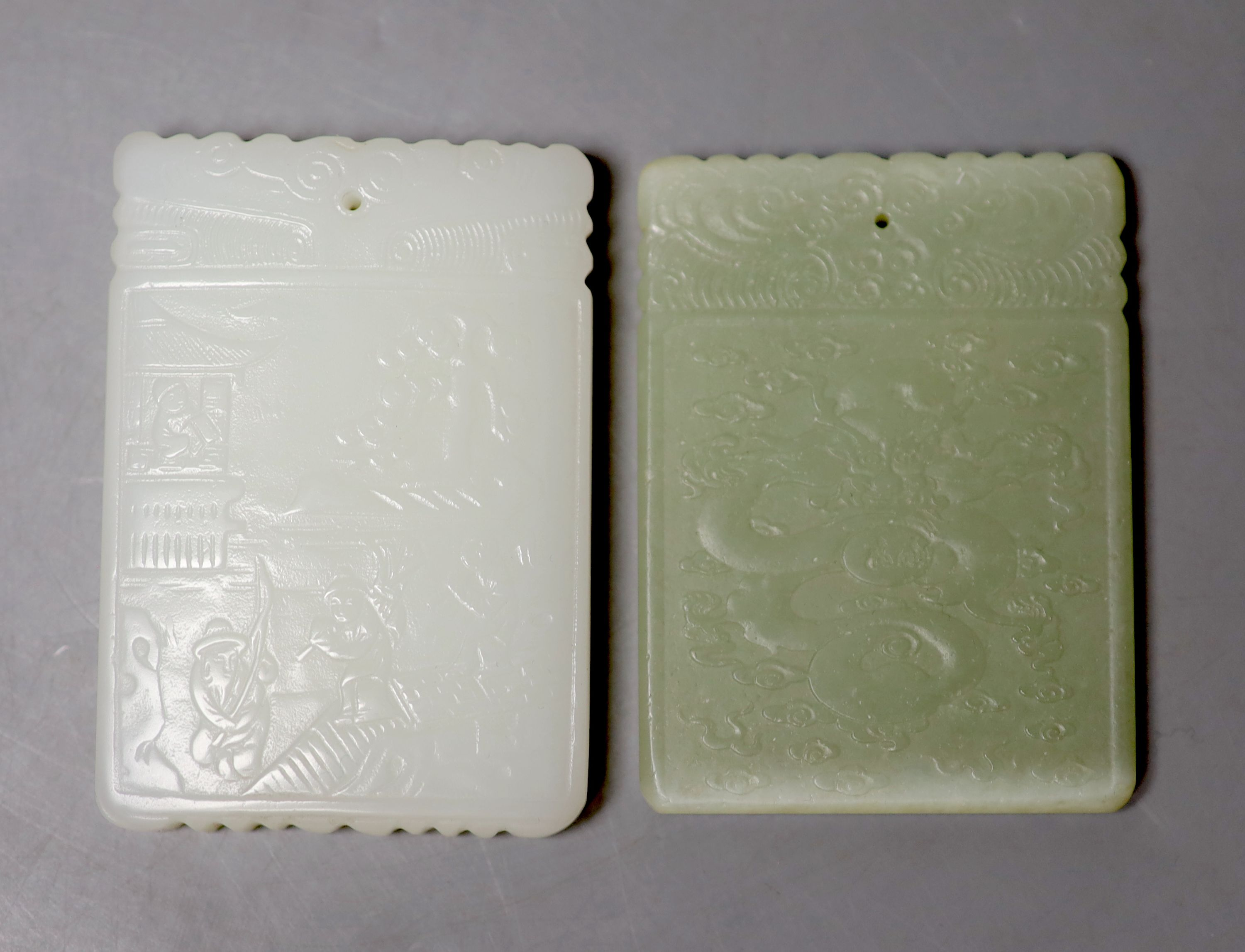 Eight Chinese jade or hardstone plaques or figures - Image 5 of 5