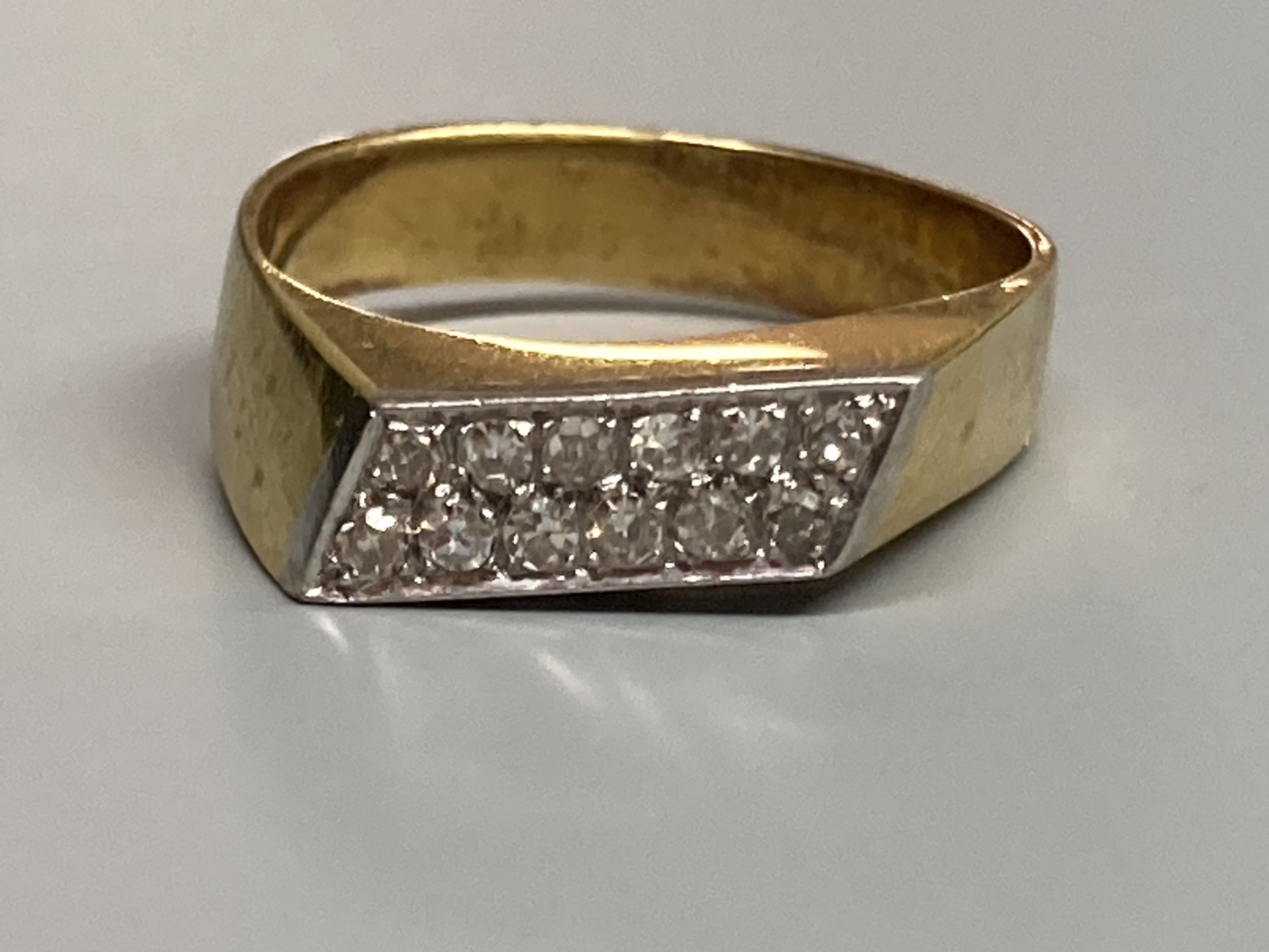 A modern 18k yellow metal and pave set two row diamond ring, size L/M, gross 4.8 grams. - Image 2 of 2