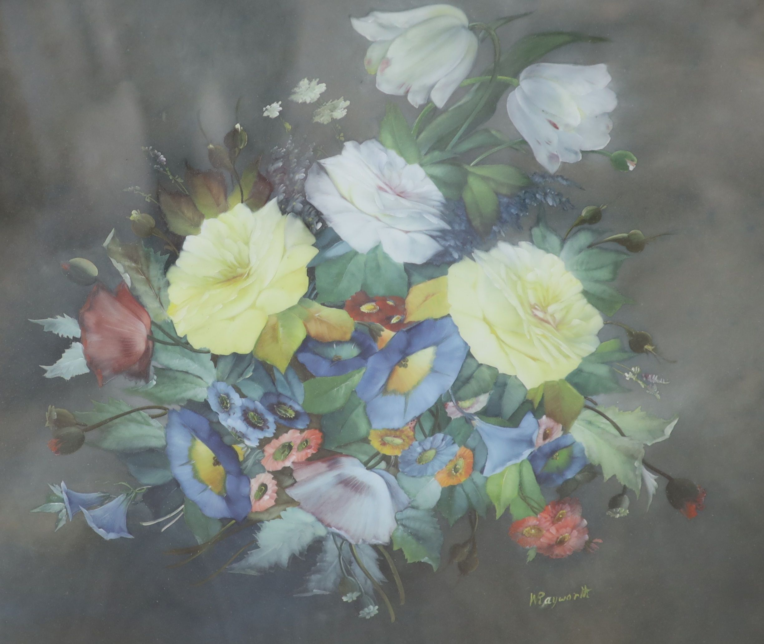 William Rayworth (19th/20th century), oil on opaque glass, 'Still life study of mixed flowers',