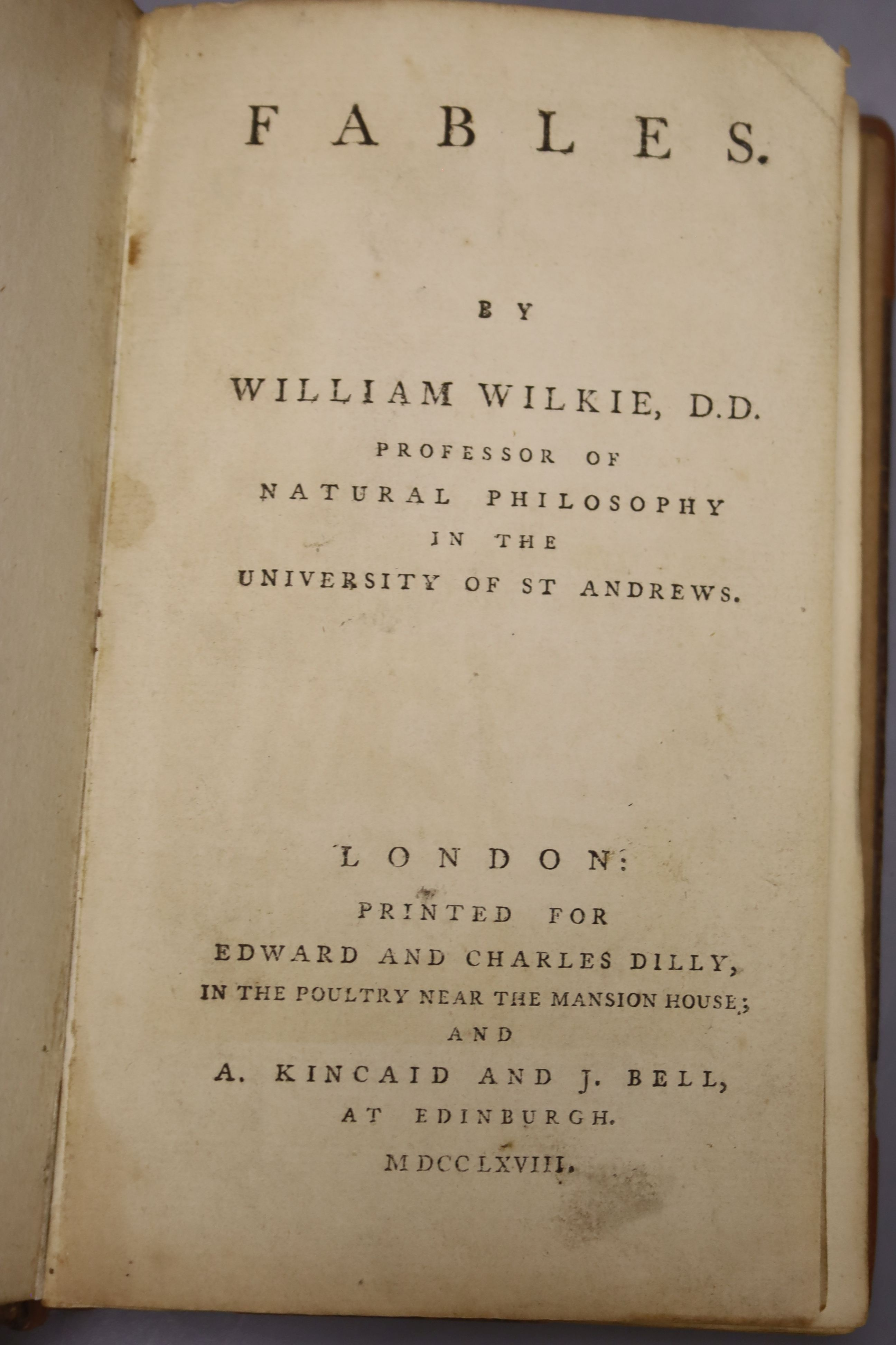 Wilkie, William - Fables, 8vo, calf, rebacked and re-cornered, with 18 engraved plates, Edward and - Image 2 of 5
