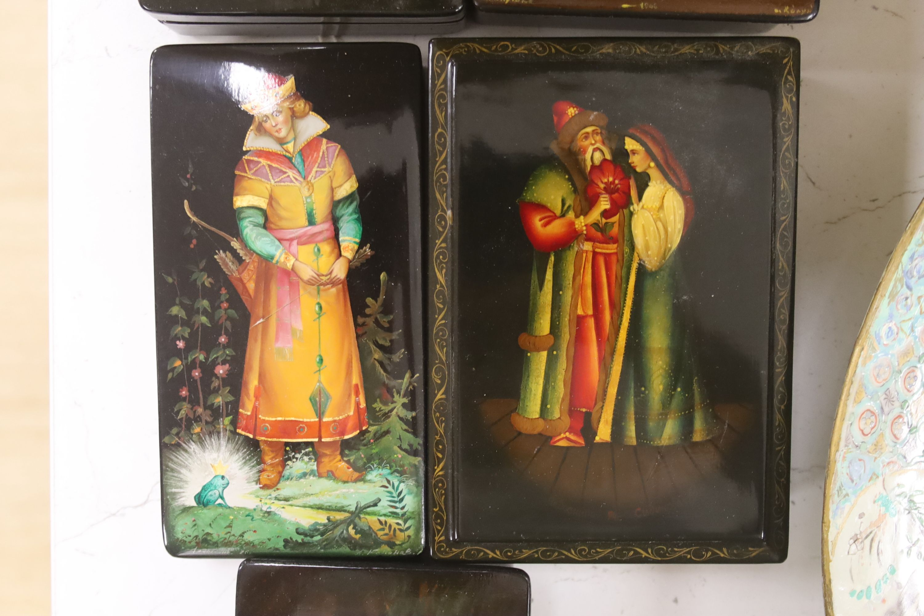 Six Russian painted lacquer boxes, each signed and inscribed, largest 18 x 13cm - Image 3 of 5