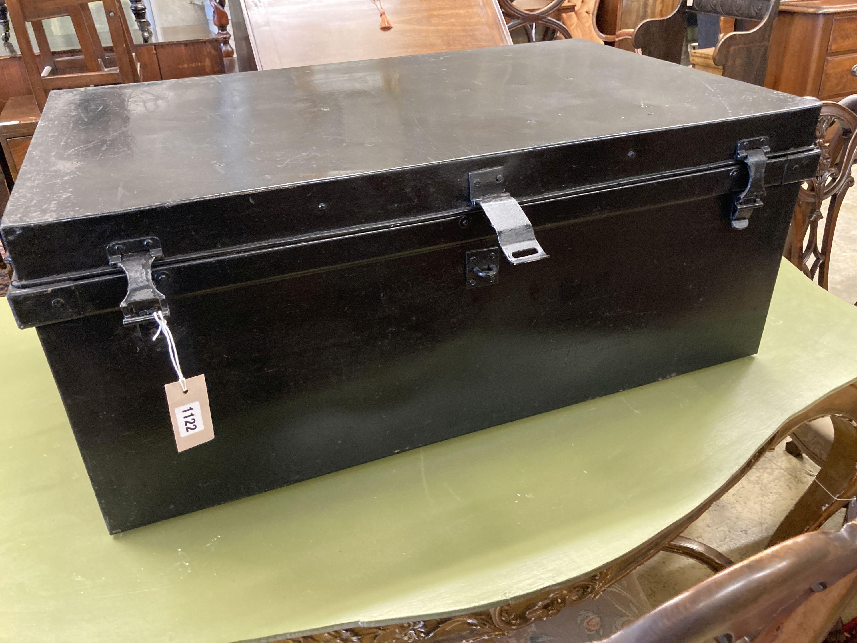 A rectangular painted tin trunk, length 90cm, depth 57cm, height 37cm