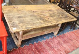 An 18th century French pine monks bench, width 160cm, depth 79cm, height 64cm