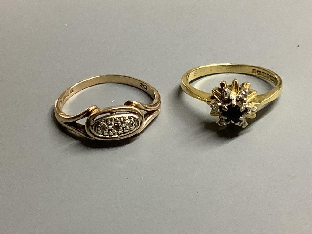 An 18ct gold, sapphire and diamond ring, gross 3.2 grams and four 9ct gold rings, two gem-set, gross - Image 3 of 3