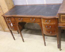 An Edwardian satinwood banded mahogany kneehole desk, width 121cm, depth 60cm, height 76cm