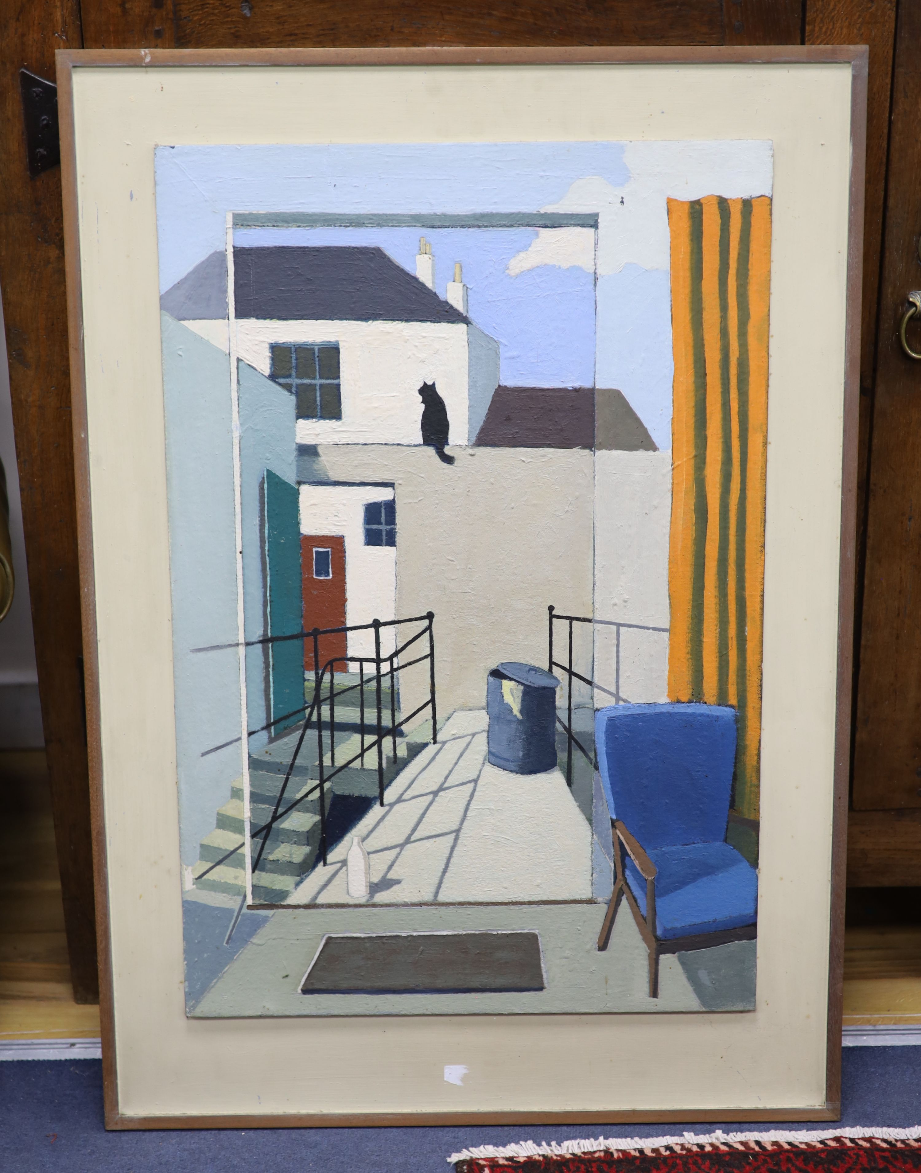 Michael Alford, oil on board, Black cat in a back yard, signed verso, 76 x 51cm - Image 2 of 2
