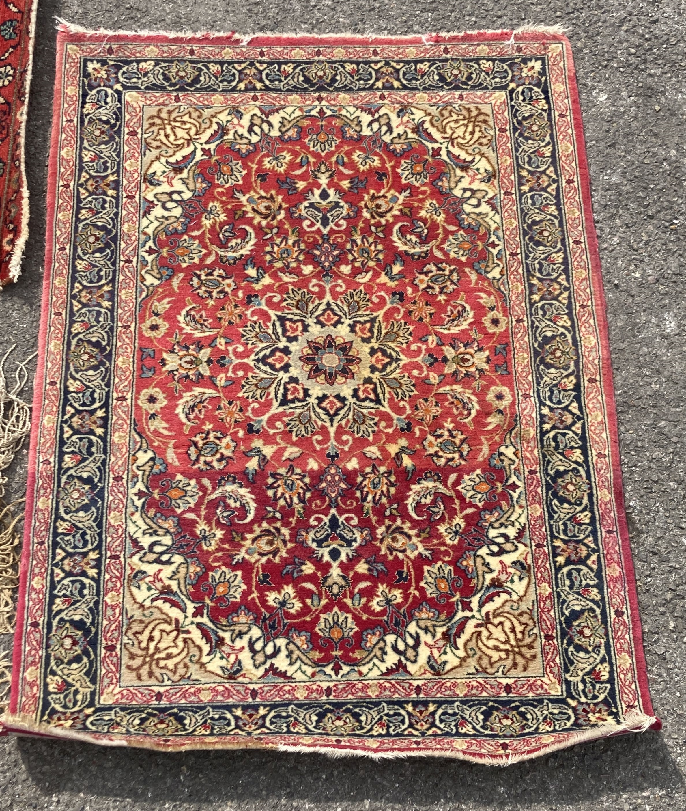A Bokhara red ground runner, 305 x 80cm, together with a smaller Kashan style rug - Image 3 of 3