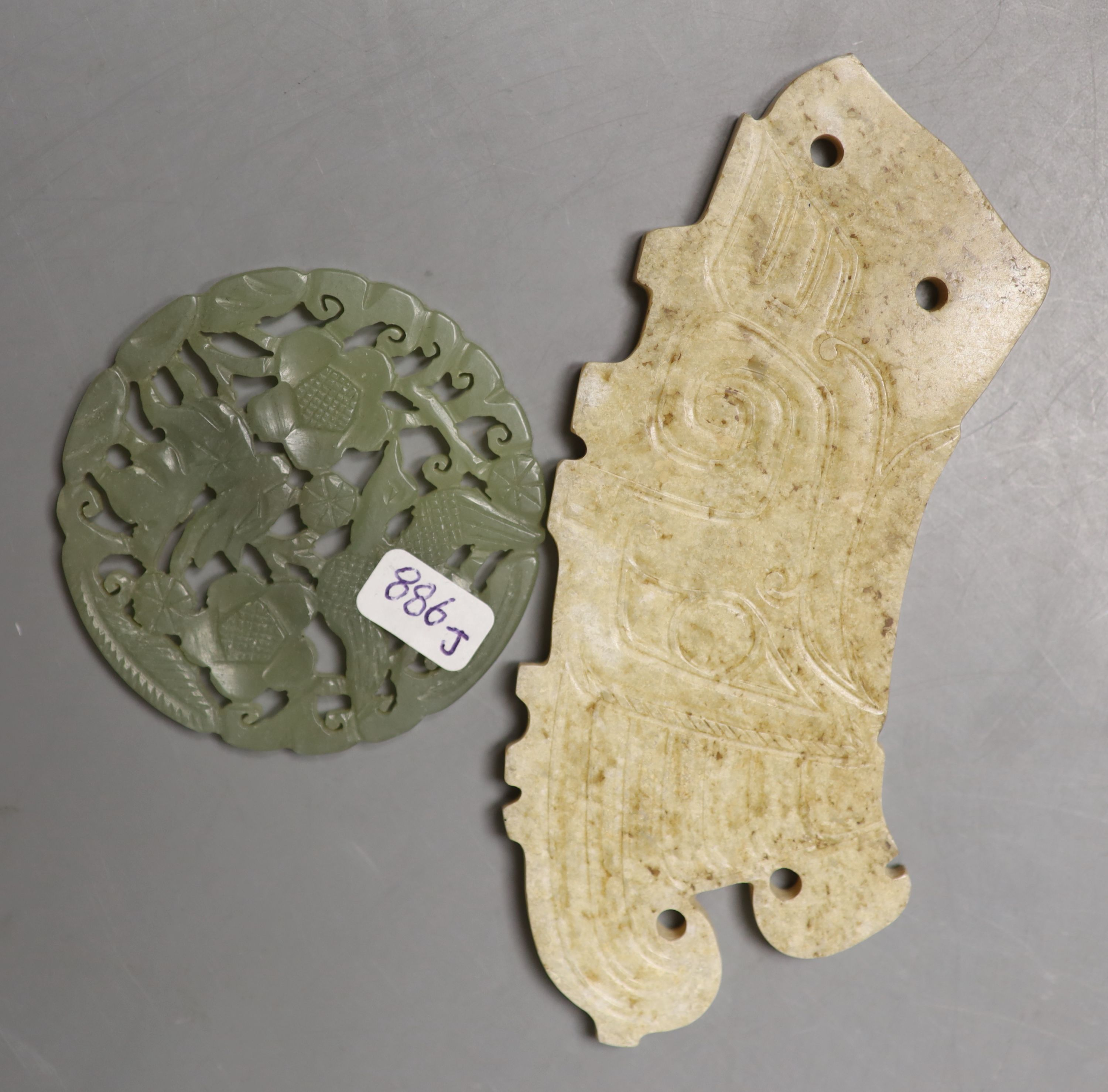 Eight Chinese jade or hardstone plaques or figures - Image 3 of 5