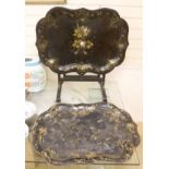 A large early Victorian papier mache tray on folding stand, 79 x 48cm, and a toleware tray