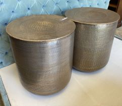 A pair of contemporary Indian brass drum coffee tables, diameter 45cm