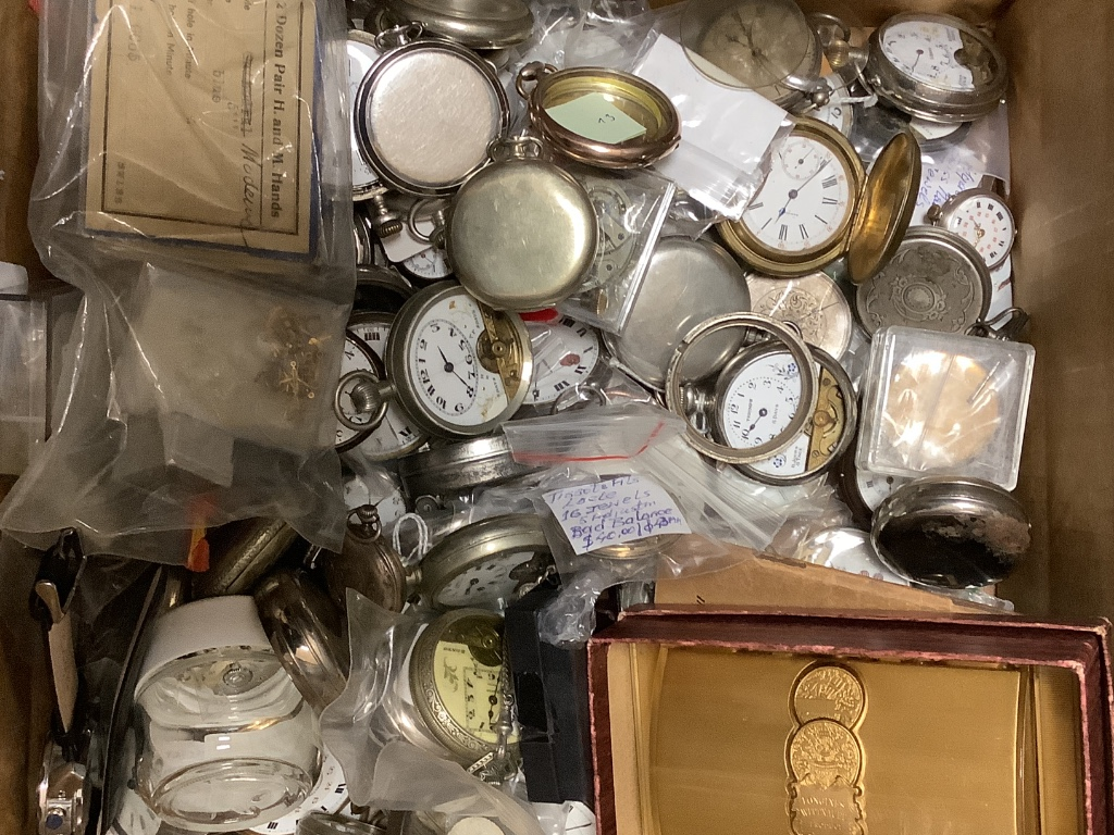 A large quantity of assorted pocket watches, pocket watch movements, parts and accessories.