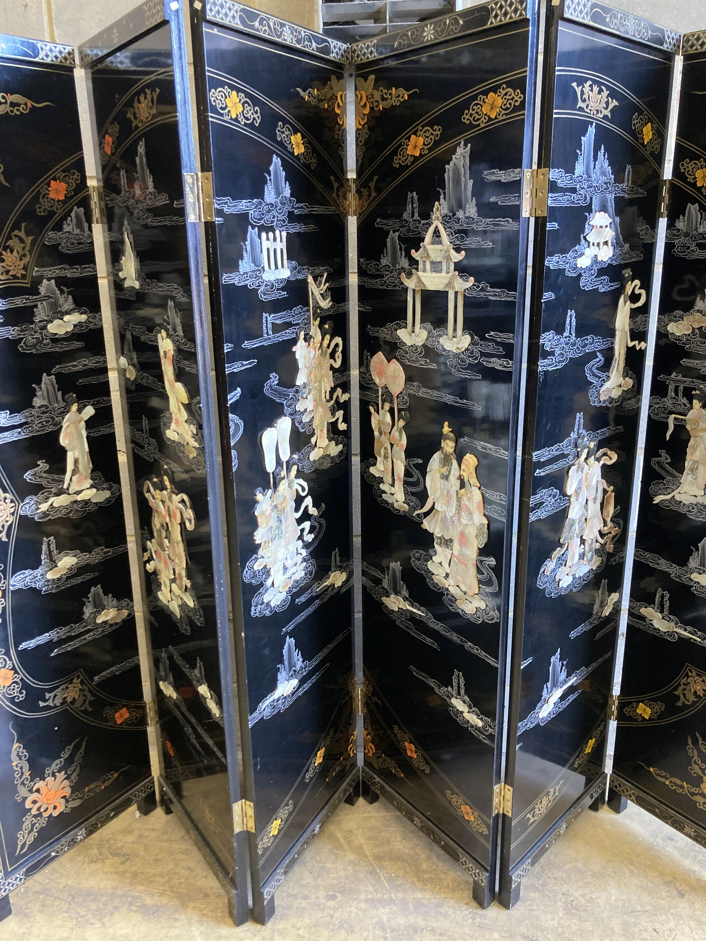 A 1920's - 30s Chinese inlaid mother of pearl six fold screen, each panel 45cm wide, height - Image 3 of 5
