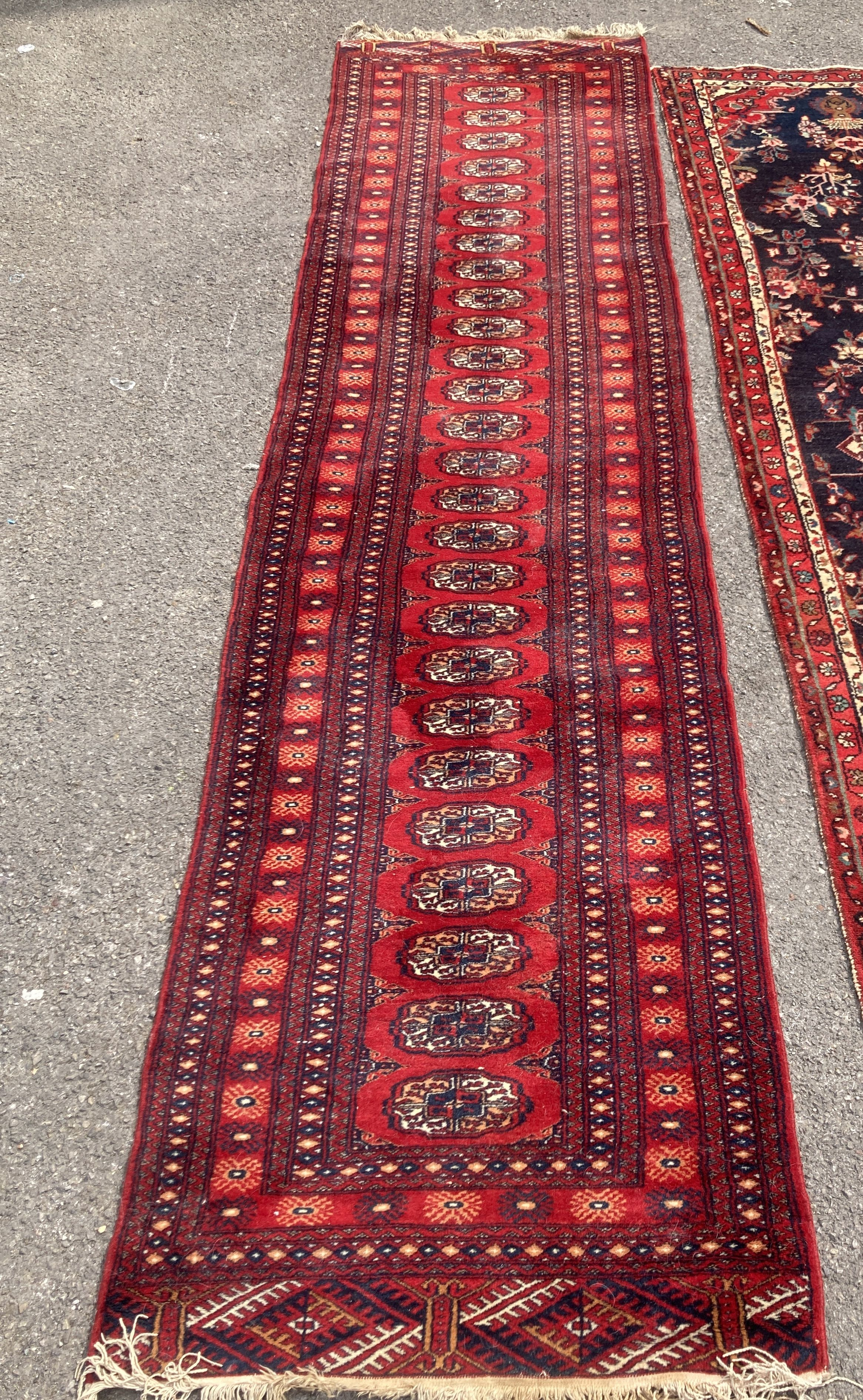 A Bokhara red ground runner, 305 x 80cm, together with a smaller Kashan style rug - Image 2 of 3