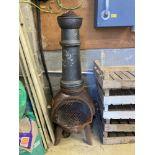 A garden cast iron chiminea, height 130cm
