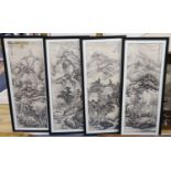 Chinese School, four monochrome watercolours on paper, Mountain landscapes, 93 x 33cm