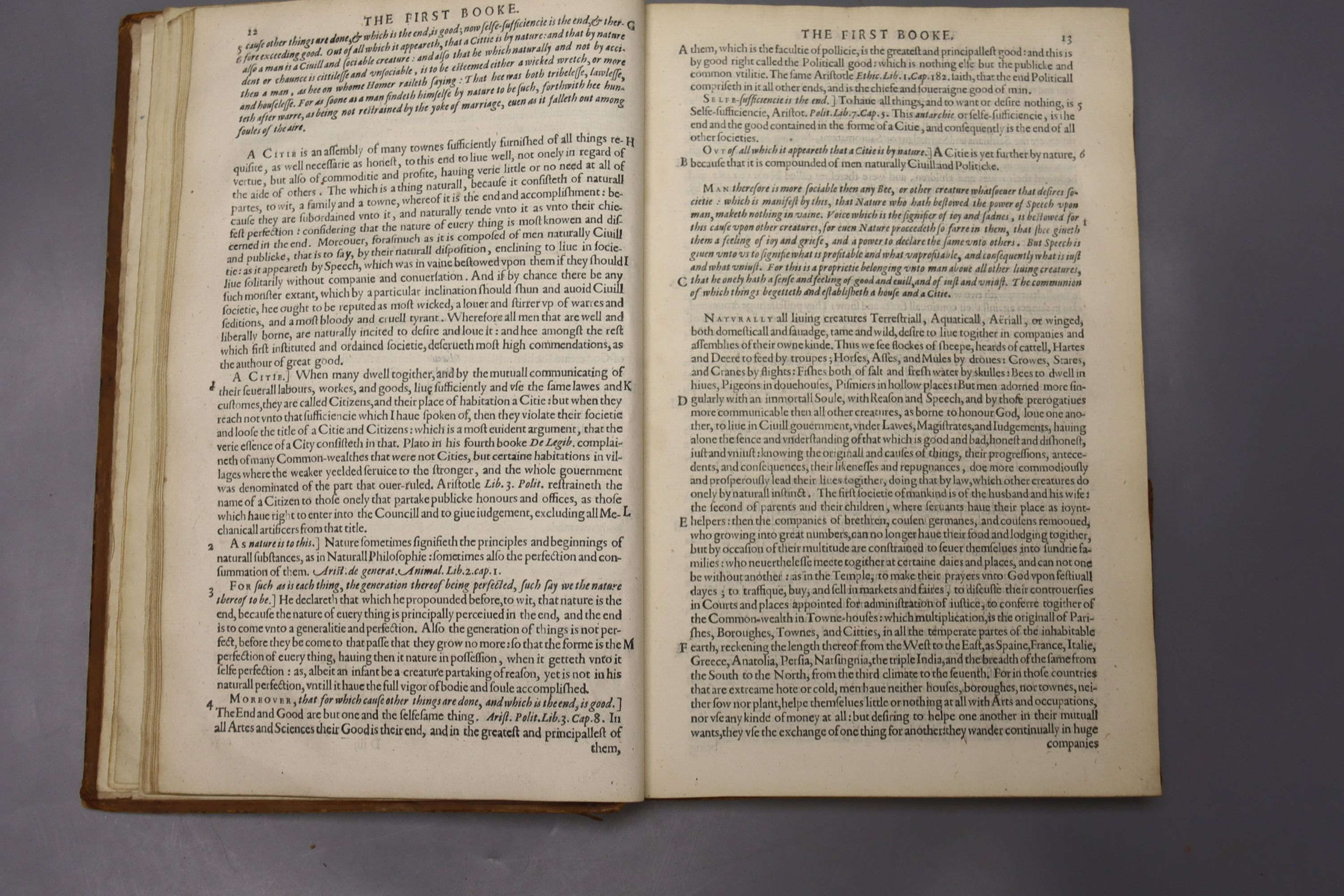 Aristotle – Aristotle's Politiques, or Discoures of Government, Translated out of Greeke into - Image 4 of 4