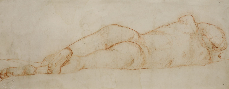 Trevor James, red chalk, Reclining nude, ESK stamp, 11 x 28cm
