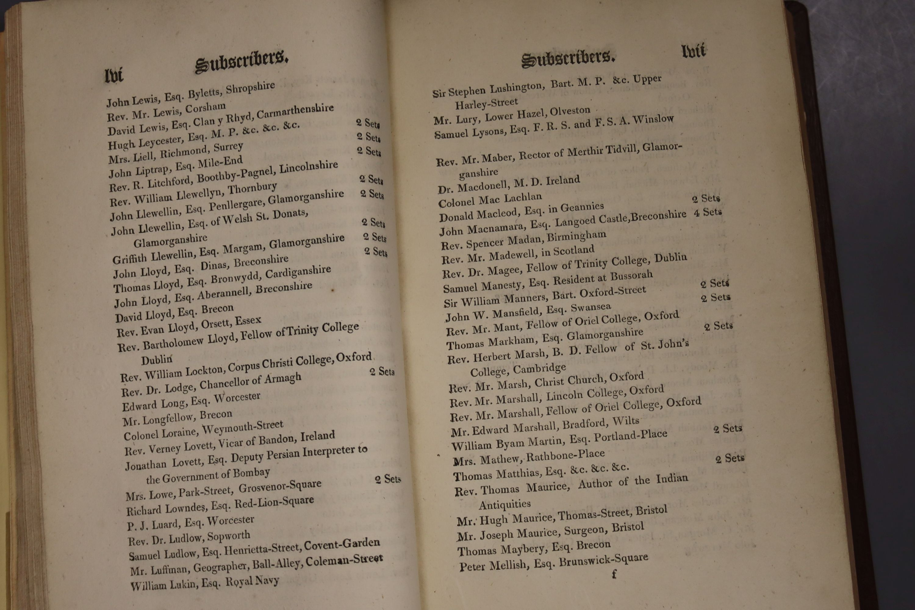 Davies, Edward – Celtic Researches …, Subscriber's list, 2 plates, later leather backed library - Image 5 of 5