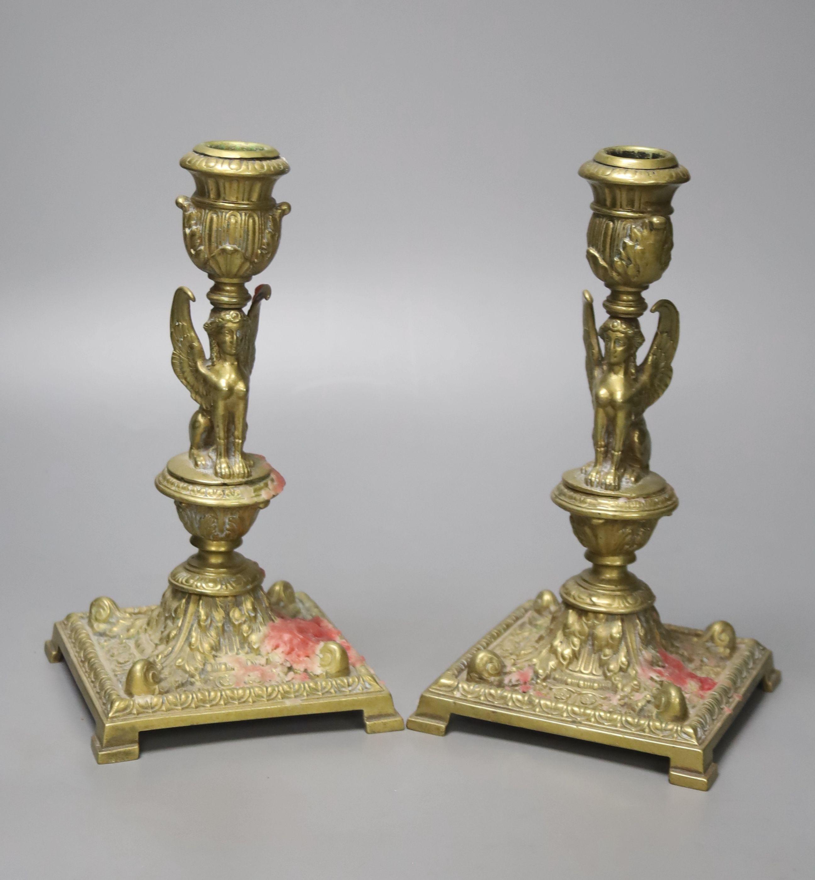 A pair of Victorian cast brass candlesticks, high 20cm