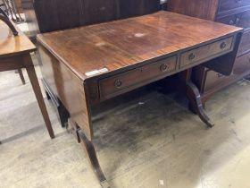 A Regency style mahogany sofa table, width 98cm, depth 67cm, height 76cm