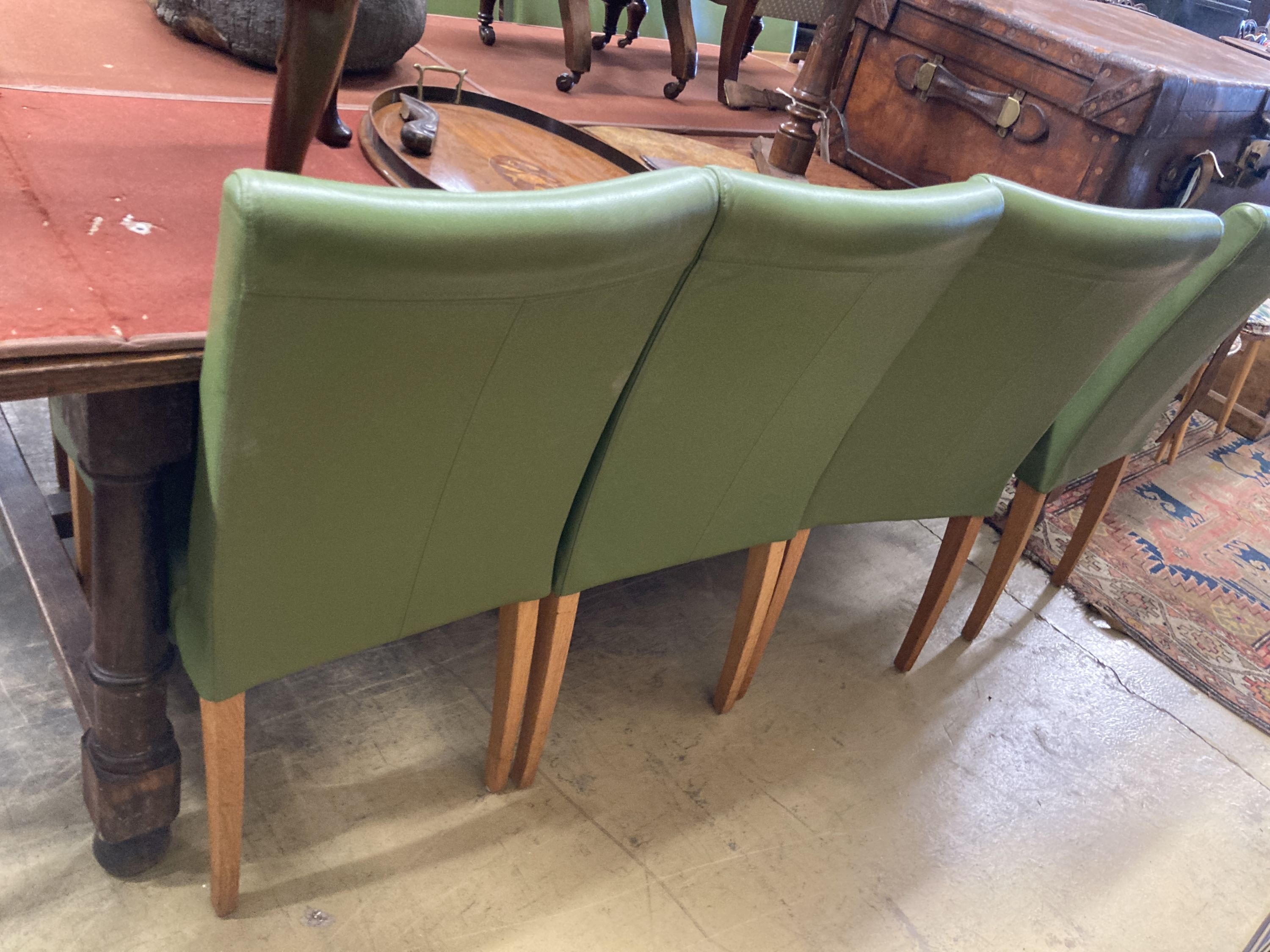 A set of eight contemporary oak and green leather dining chairs - Image 4 of 4