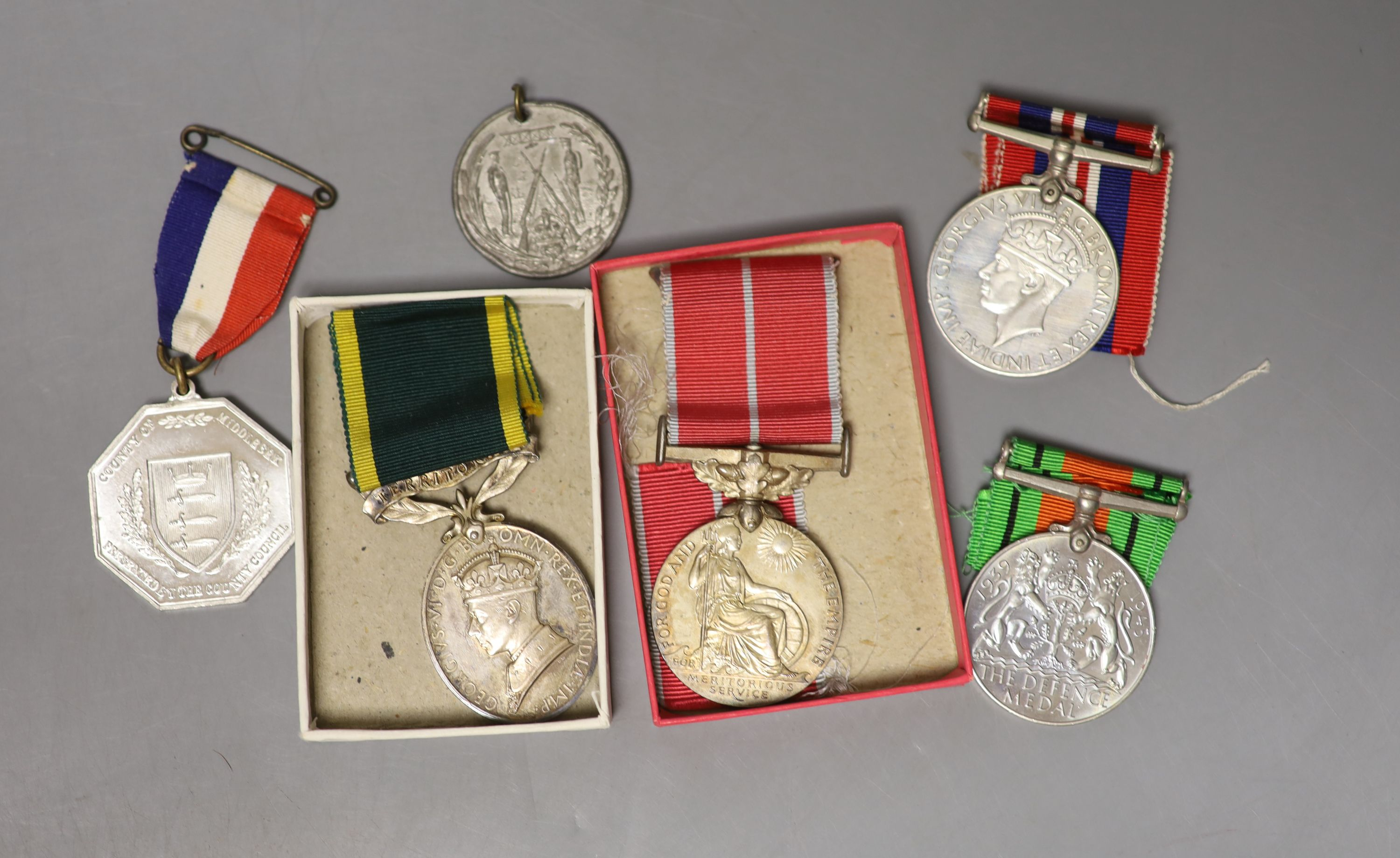 Medals: BEM, Territorial, WM & Victory to Sjt PW Hope RA, with masonoc medal & Jubilee medal