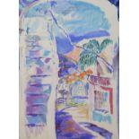 Andrea Tana, pastel on paper, Mediterranean hillside town, 76 x 56cm