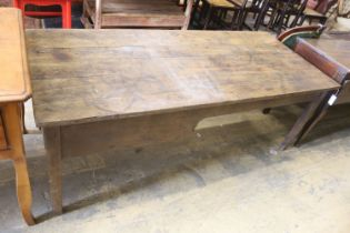 A 19th century Brittany elm kitchen table, length 186cm, depth 81cm, height 69cm