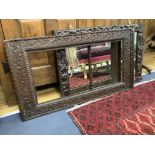 A carved triple plate overmantel mirror, 88 x 57cm together with a similar rectangular frame