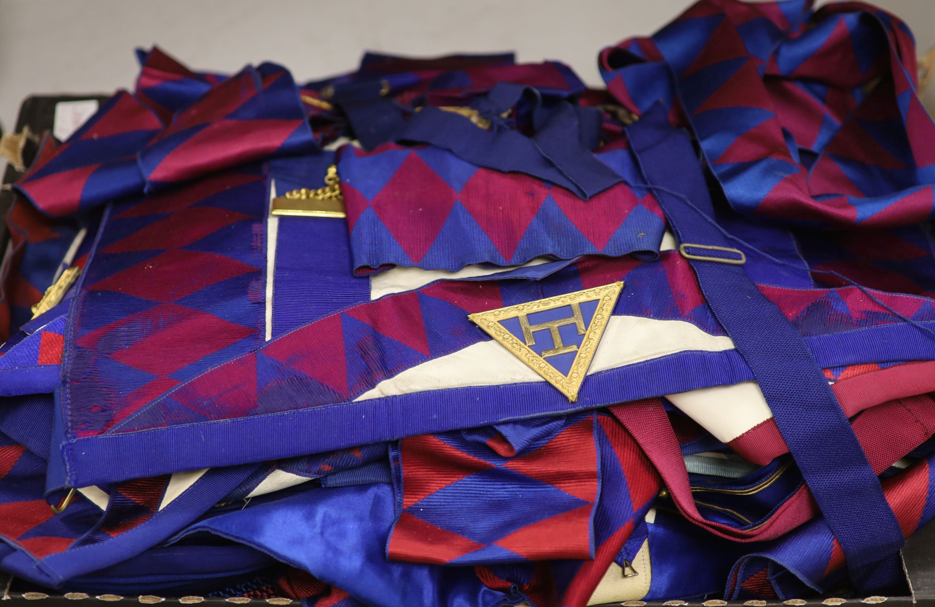 A large collection of Masonic aprons and sashes for London, etc.