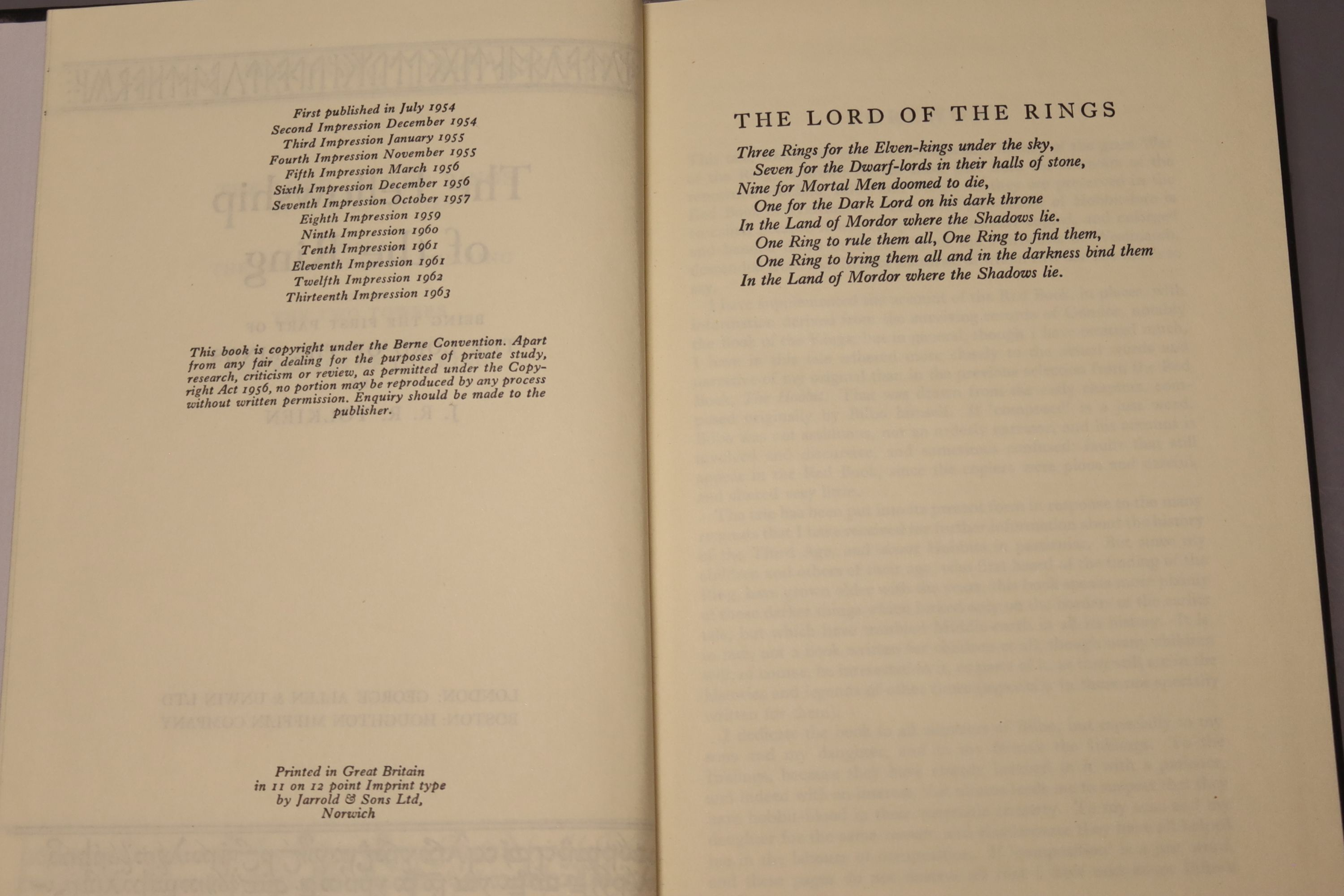 Tolkein, J.R.R. - The Fellowship of the Ring, The Two Towers, The Return of the King 1963, tenth and - Image 4 of 11