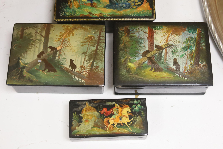 Six various Russian painted papier mache boxes - Image 3 of 5