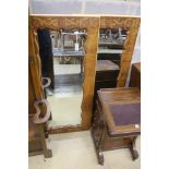 A pair of French marquetry inlaid kingwood wall mirrors, width 72cm, height 149cm