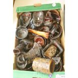 Assorted simulated rhinocerous horn libation cups and related ornaments