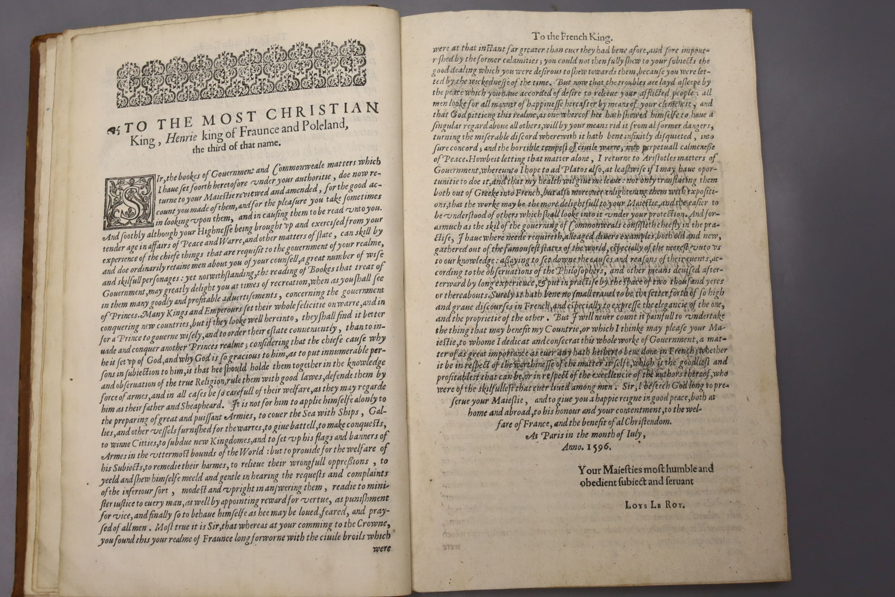 Aristotle – Aristotle's Politiques, or Discoures of Government, Translated out of Greeke into - Image 3 of 4