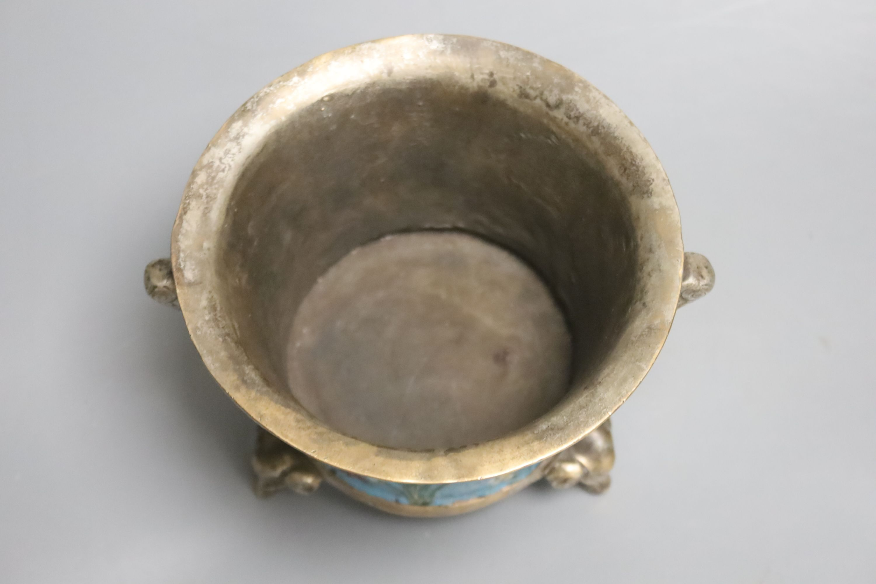 A heavy Chinese silvered bronze twin handled censer with floral decoration, a four character - Image 3 of 4