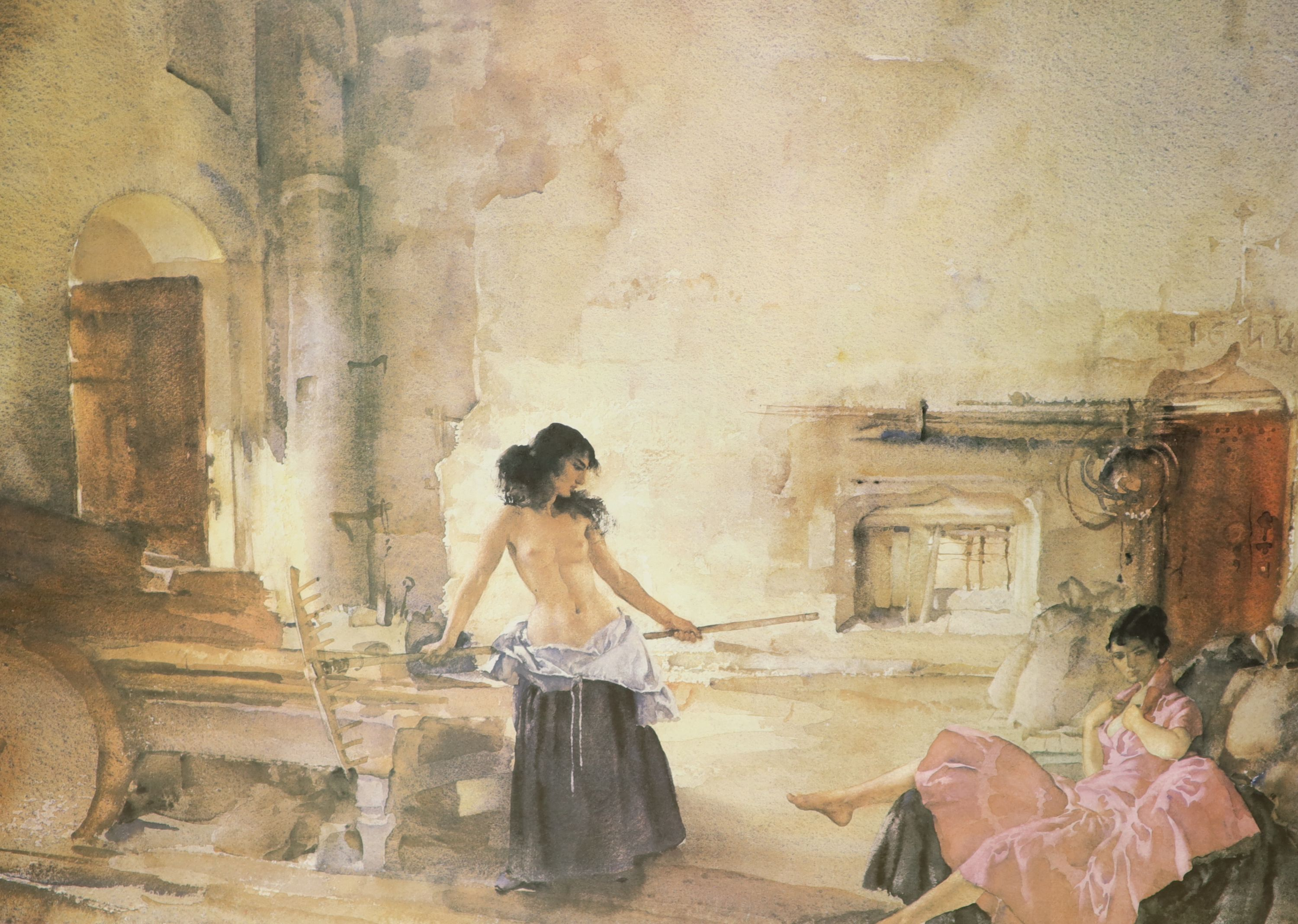 William Russell Flint, two limited edition prints, In a Burgundian Granary & Cecelia and her - Image 3 of 3