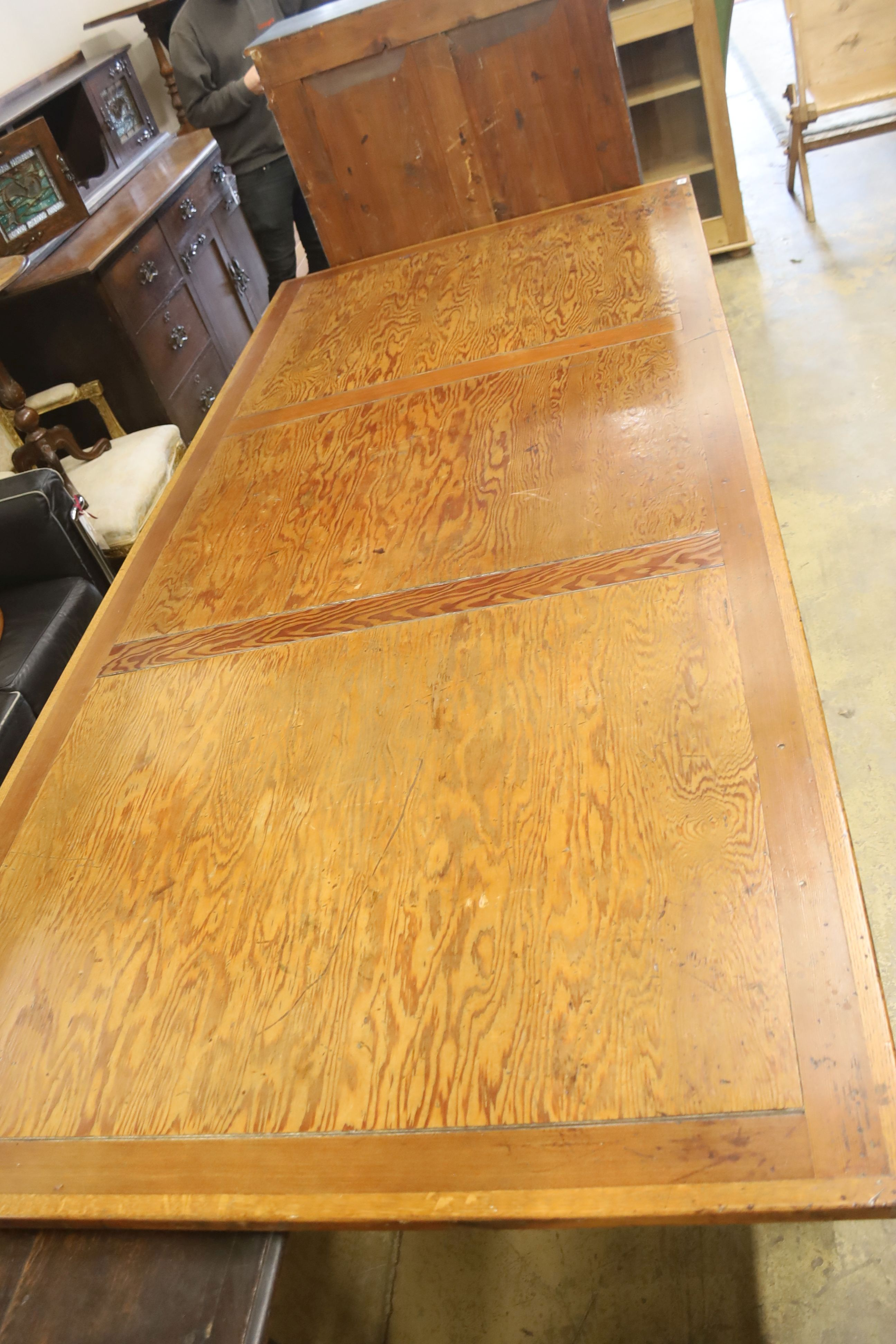 A large oak and pine refectory table, length 274cm, depth 122cm, height 76cm - Image 6 of 6