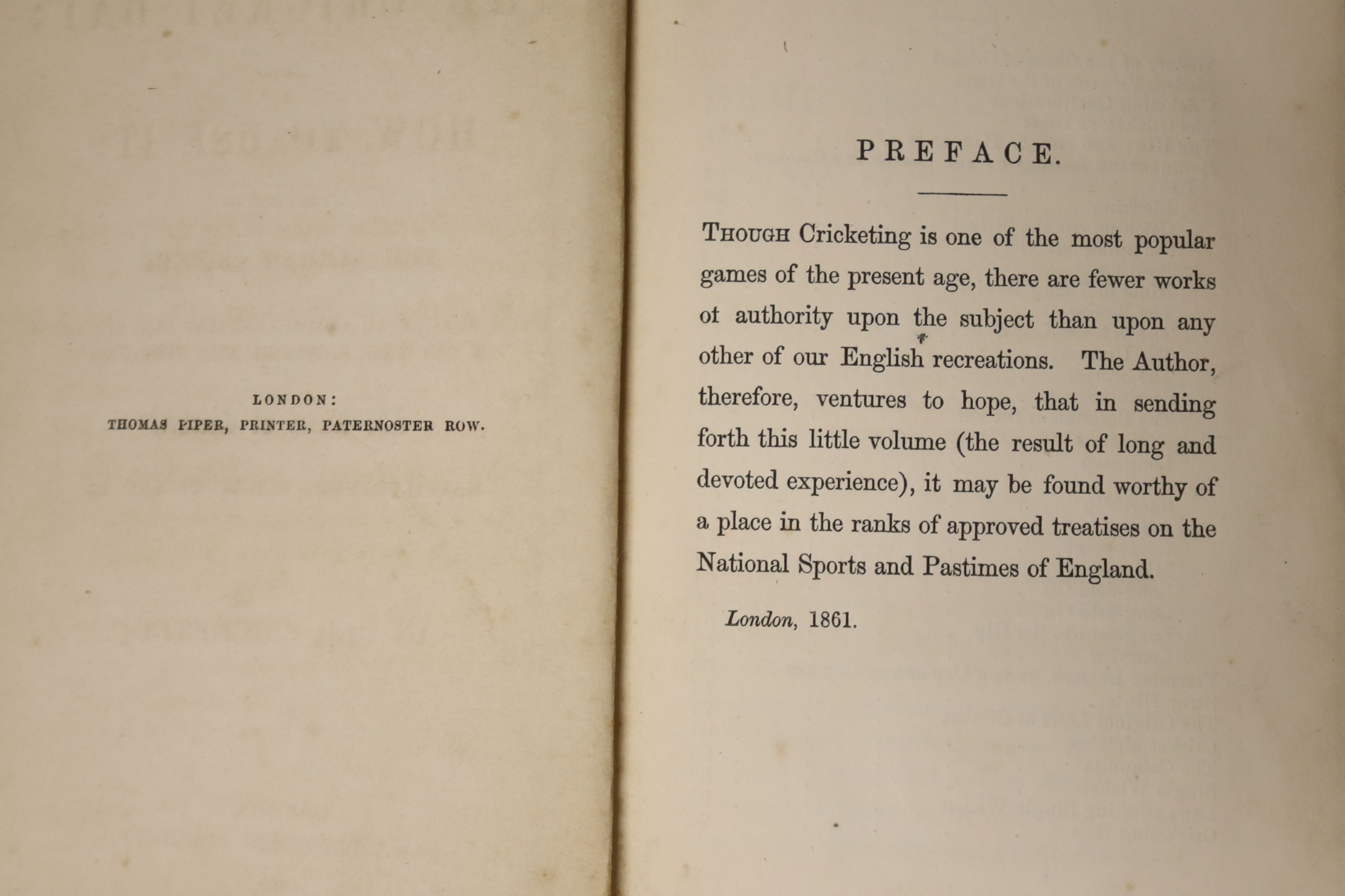 [Wanostrocht, Nicholas] - The Cricket-Bat; and How To Use It; a treatise on the game of cricket ..., - Image 3 of 5