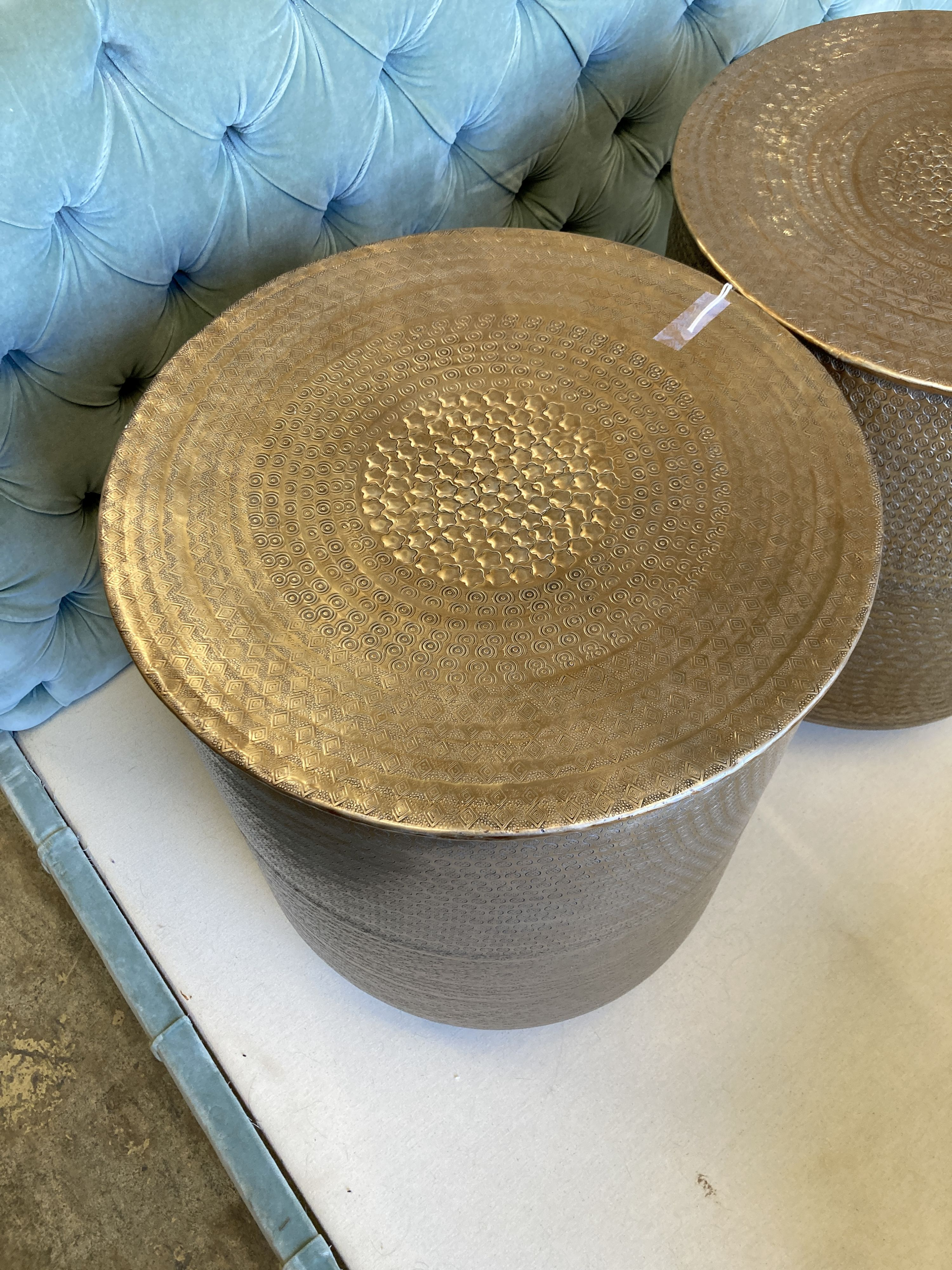 A pair of contemporary Indian brass drum coffee tables, diameter 45cm - Image 2 of 3