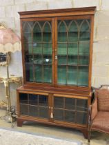 A George III style satinwood and ebony banded mahogany display cabinet, width 132cm, depth 50cm,