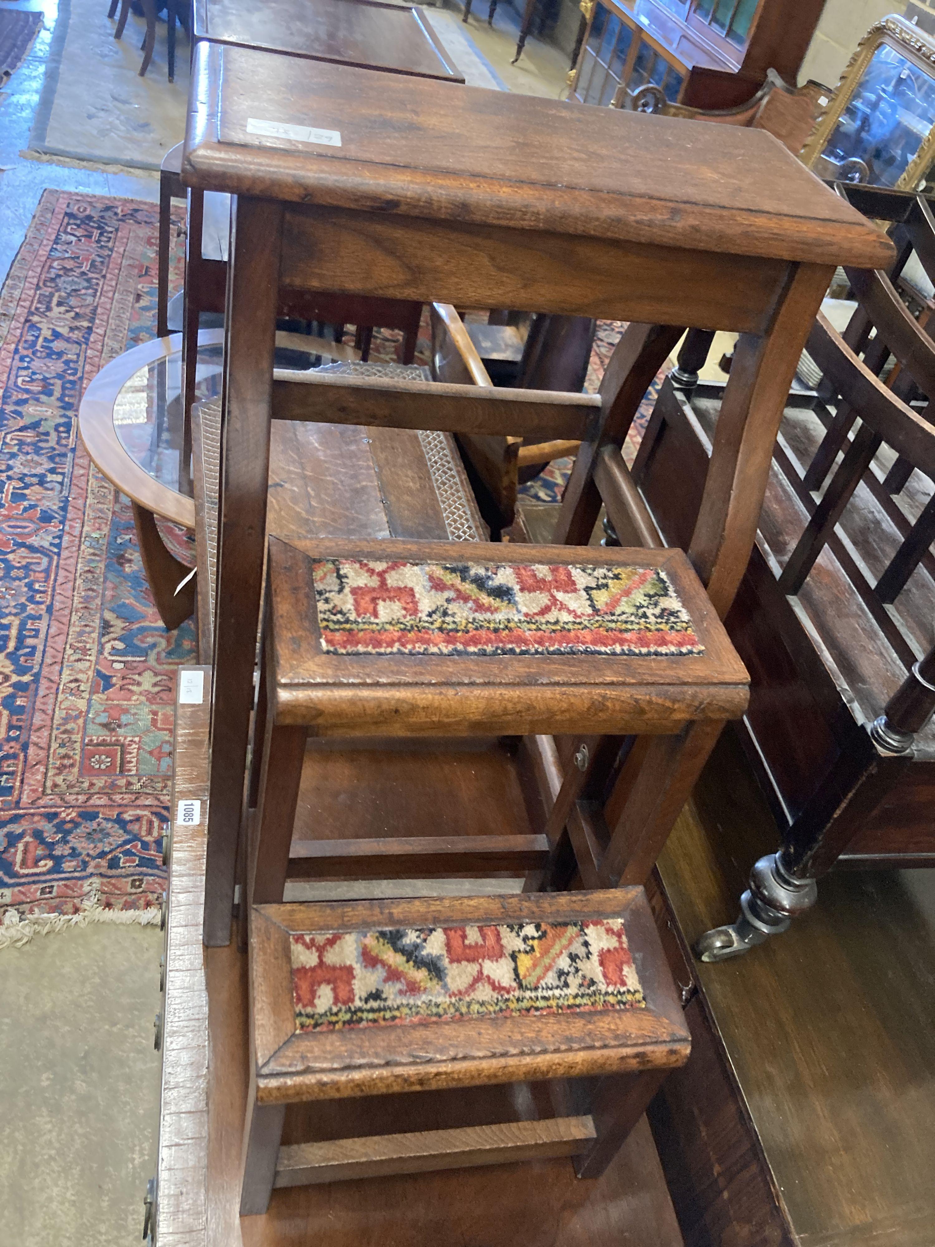 A mahogany metamorphic step/stool, width 42cm, depth 28cm, height 72cm - Image 2 of 4