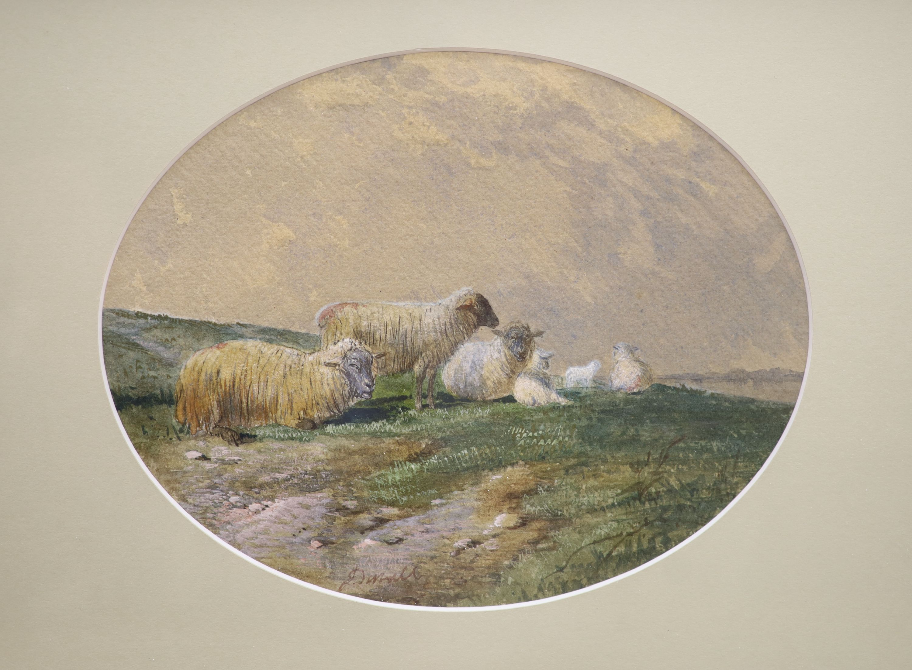 J.D. (19thC), pair of watercolours, Studies of sheep, indistinctly signed, 19 x 24cm - Image 3 of 3