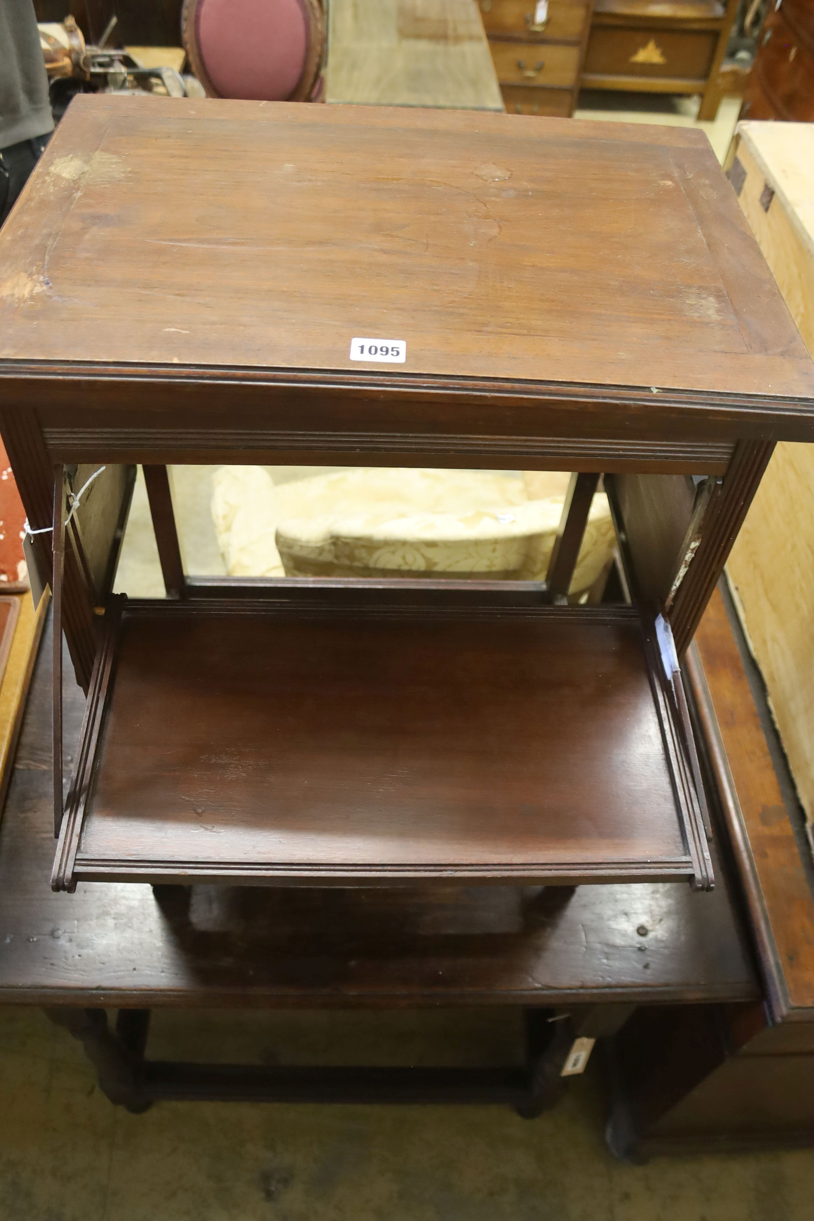 A late Victorian aesthetic movement walnut folding card / occasional table, width 54cm, depth - Image 2 of 2